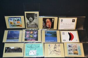 GB phq cards 2004 period x 12 different sets all with stamps on the back & fdi