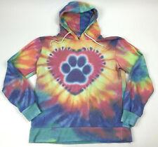 The Rescue Site WOMEN'S Sweatshirt PULLOVER Tie Dye PAW Print HEART Hoodie Sz M