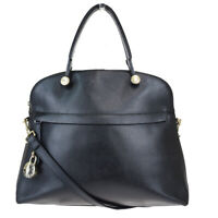 Auth Furla 2WAY Leather Handbag Black 07GB814
