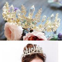 Queen Baroque Bridal Wedding Tiara Gold Crystal Pearl Crown Headband Headpiece