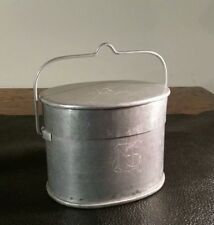 WWI ITALIAN ALUMINUM MESS KIT w/ TRENCH ART CARVED INITIALS N.S. Rare Oval Shape
