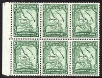 Newfoundland 1929-31 SG179 1c. Green MNH Blk of 6 stamps
