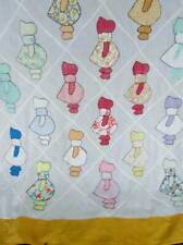 Vintage 40s SunBonnet Sue Handmade Quilt Top Bedspread Applique Cotton 76X91
