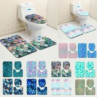 3pcs Non-Slip Fish Scale Bath Mat Bathroom Kitchen Carpet Doormats Decor