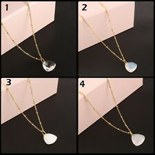 Trillion Shape White Gemstone Yellow Gold Plated Bronze Necklace Chain Pendant