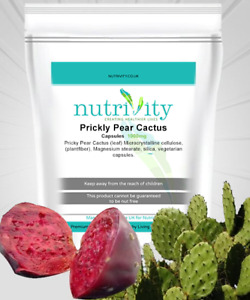 Prickly Pear Opuntia Cactus 1000mg Veggie Capsules with Silica by Nutrivity