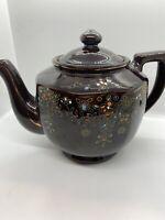 Vintage Japan Brown Ceramic Teapot With Floral Design