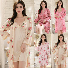 NEW Sexy Womens Silk Satin Pajamas Set Sleepwear&Robes Nightdress Nightgown Pjs