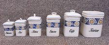 Lot de 6 anciens pots de cuisine vintage café sucre thé french antique potery