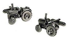 Traditional Tractor Burnished Silver Design Cufflinks - Onyx-Art London CK266