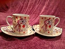 "VALENTINE ""WITH LOVE"" RUSSIAN PORCELAIN 2 COFFEE CUPS & SAUCERS SET / HEART BOX"