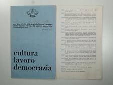 Cultura lavoro democrazia, Pieghevole  elettorale, movimento comunita, 1953