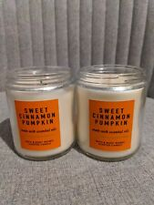 2 Bath & Body Works SWEET CINNAMON PUMPKIN Single Wick Candle - one new one used