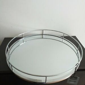 38 cm Contemporary Silver Mirrored Round Tray Wedding Center Piece Metal Plate