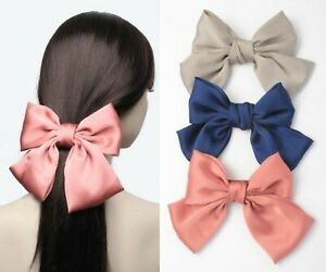 Large Hair Bow Barrette Clips Satin Bows Hair Accessories Grips