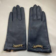 Vtg Soft Navy Blue Vinyl Driving Gloves ~ Women's Size Small - Chain Detail