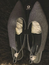 BRAND NEW Dorothy Perkins Silver Glittery  FLAT slingback/ Shoes - UK Size 9 ~