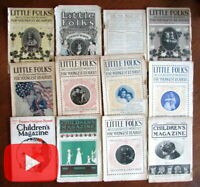 Children's Magazines 1903-08 Illustrated Little Folks advertising lot 12 issues