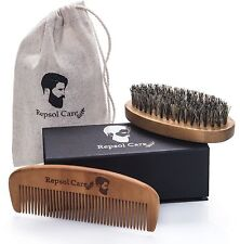 Beard Brush Hair Comb Set Men Kit Mustache Natural Boar Kent xmas gift for him
