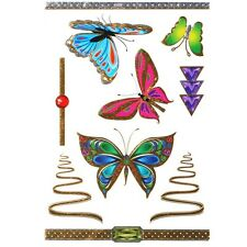 Tatouages Ephémères Couleur métal Papillons Pierres Bijoux de Peau Tattoo