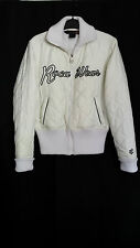 Rocowear Women Off White Ivory Winter Logo Zipper Pocket Sexy Bomber Jacket Sz L