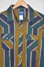 WRANGLER Western SHIRT Flannel NAVY Blue MUSTARD Teal COTTON Pearl Snaps Sz XXL