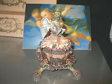 "KIRKS FOLLY ""ANGELS BY THE SEA 4 PC. CANDLEHOLDER/TRINKET BOX"" RARE/SIGNED!"