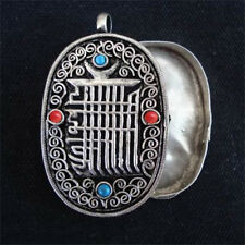 Tibetan 4 Turquoise Red Coral Filigree Kalachakra Ghau Prayer Box Pendant