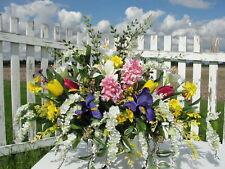 Labor Day Memorial Flowers Wisteria Iris Hyacinth Cemetery Silk Spray Sympathy