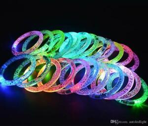 LED Bracelet Flashing Bangle Light-Up Wristband Glow Blink Party For Kids lot UK