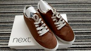 Next Women's Brown / Tan  Leather Casual Lace Up Trainers/ Shoes Size Uk 5