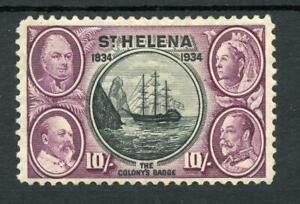 St Helena 1934 Centenary 10s black and purple SG123 MM