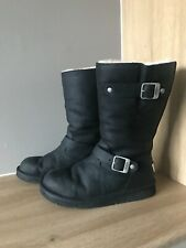 UGG® AUSTRALIA KENSINGTON 5678 BLACK LEATHER BOOTS UK 4.5 EUR 37 USA 6 RRP £240