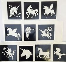 Unicorn stencils  x 10 top up ur glitter tattoo kit face painting Airbrush
