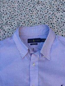 """RALPH LAUREN - White - Navy-Pink Check - Button Cuff - Shirt - XL - 17"""" collar"""