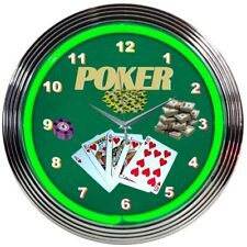 Neon Clock sign Poker night wall lamp light 5 Card Stud Texas Holdem Casino