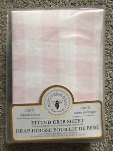Burt's Bees Baby Organic Cotton Fitted Crib Sheet Pink/White Checked New in Pkg