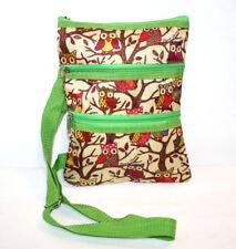 Flower Spring Owl Beige Lime Green Crossbody Bag Purse Adjustable Straps