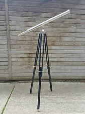 "Marine Navy Nautical Brass Telescope Nickel Finish With Wooden Tripod Stand 39""s"