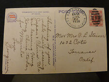 Hong Kong China 1930 Post card to USA WITH US T P SEA POST SS PRESIDENT Jackson