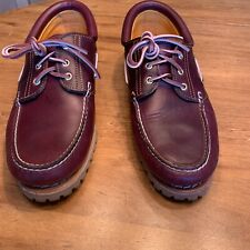 Mens New Timberland Moc Toe Camp Shoe In Oxblood With Lug Soles Size 12 M