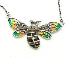 Art Deco Enamel Bumblebee Sterling Silver 925 Necklace 6g Sz.18 SAS43