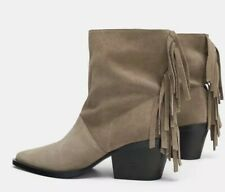 NEW ZARA TAUPE SOFT SUEDE LEATHER FRINGED COWBOY BOOTS SIZE UK 3 £69.99