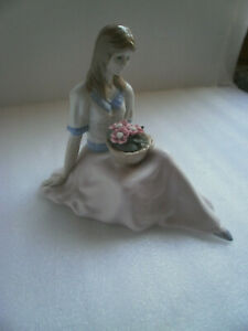 Porcelana De Cuernavaca, Girl Sitting with Basket of Flowers Made in Mexico 2/99
