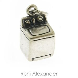925 Sterling Silver Washing Machine Charm Made in USA