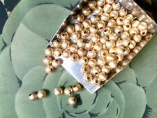Vtg 30 BRASS CORRUGATED METAL BALL BEADS 5mm  #080518u