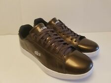 Lacoste Women's Carnaby Evo Leather Trainer Shoes Dark Brnze size us/9, EUR/40.5