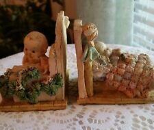 Nursery Decor Book Ends Rare Vintage Baby Sleeping Baby & Baby Crawling Decor