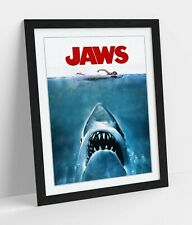 VINTAGE JAWS MOVIE POSTER -ART FRAMED POSTER PICTURE PRINT ARTWORK- RED