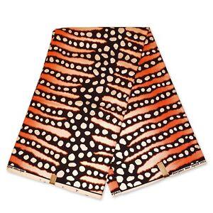 "African fabric BLACK ORANGE wax fabric BOGOLAN / MUD CLOTH ""METALLIC"" wax cloth"